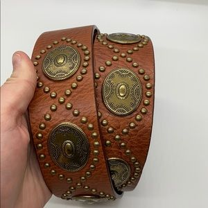 Brass and leather Concho belt
